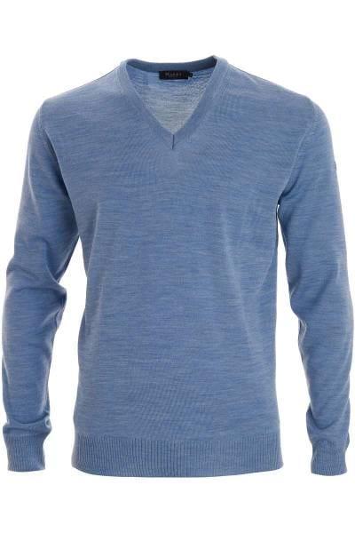 MAERZ Classic Fit Strickpullover V-Ausschnitt blau, einfarbig
