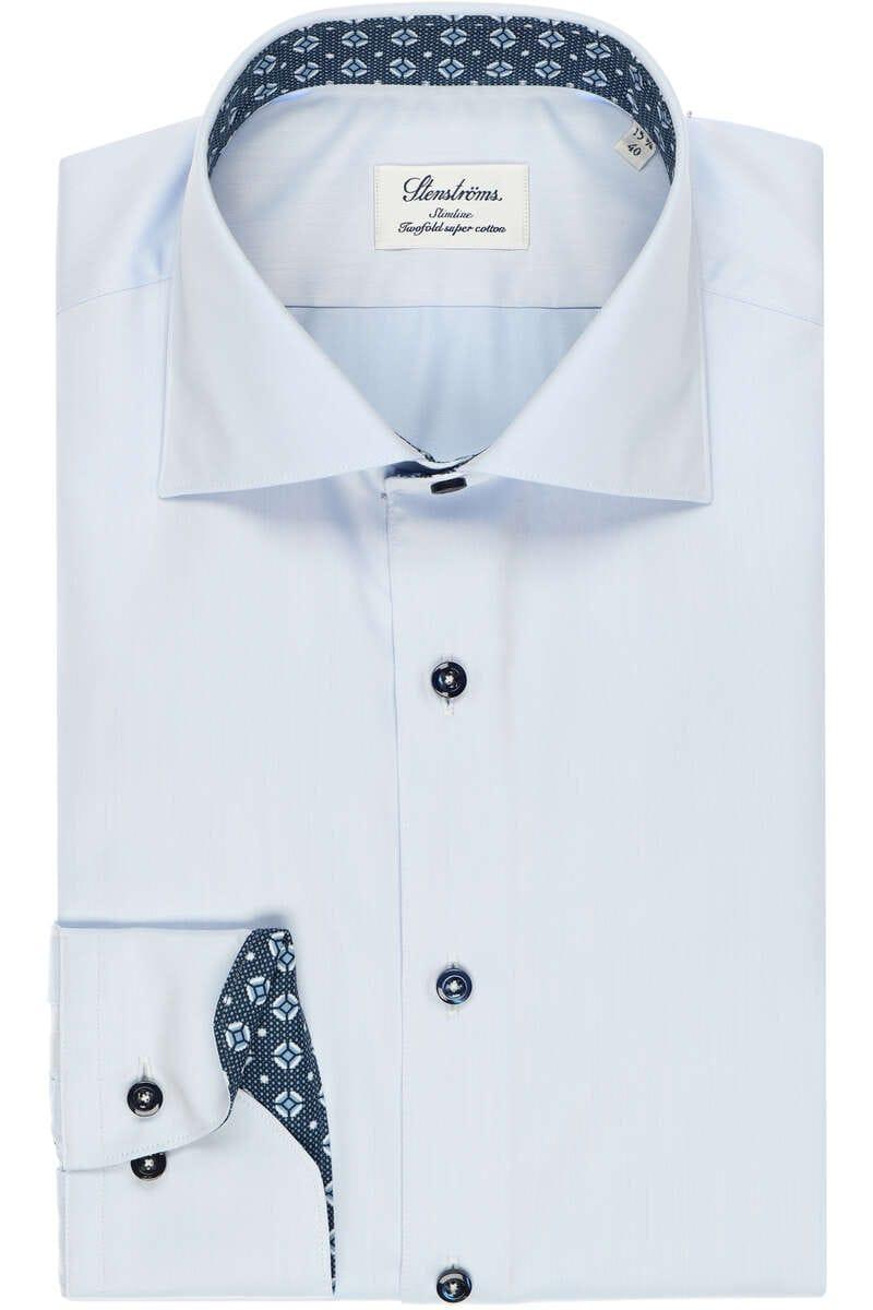 Stenströms Slimline Hemd blau, Einfarbig 40 - M