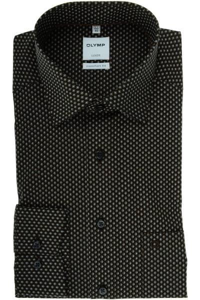 Olymp Luxor Comfort Fit Hemd schwarz/braun, Gemustert