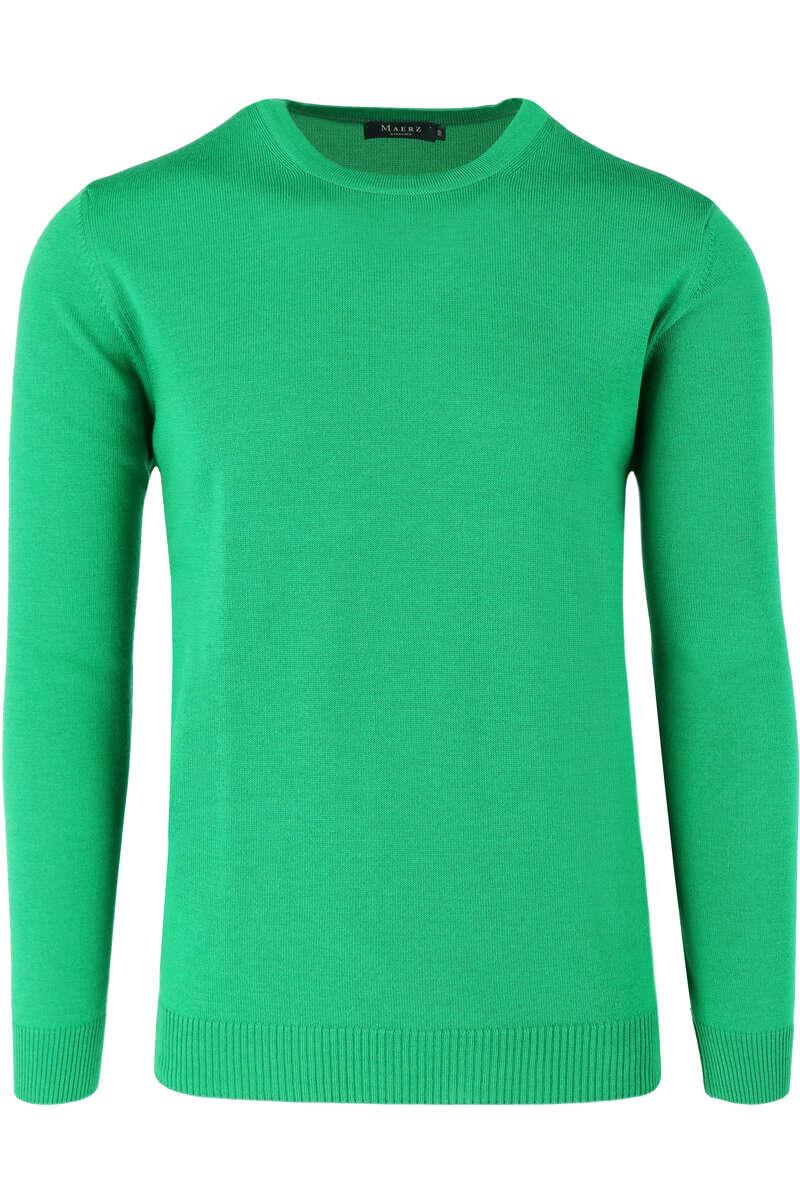 MAERZ Modern Fit Pullover Rundhals grün, einfarbig 50
