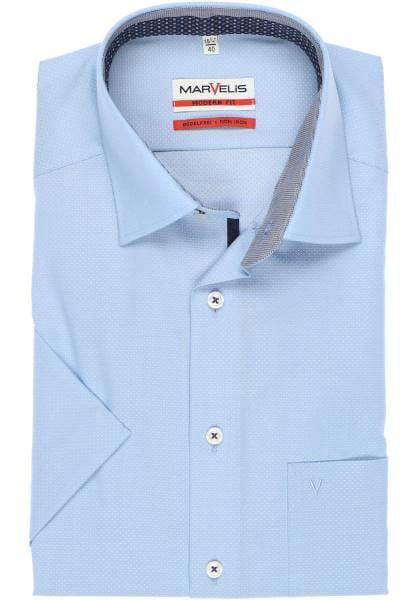 Marvelis Modern Fit Hemd bleu, Faux-Uni