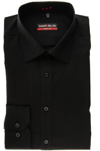 Marvelis Hemd - Body Fit - schwarz, Einfarbig