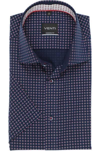 Venti Modern Fit Hemd blau/rot, Gemustert