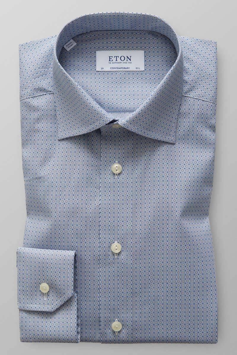 ETON Contemporary Fit Hemd blau/weiss, Gemustert