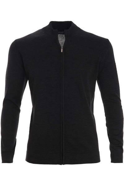 MAERZ Strickjacke Classic Fit Zipper schwarz, einfarbig