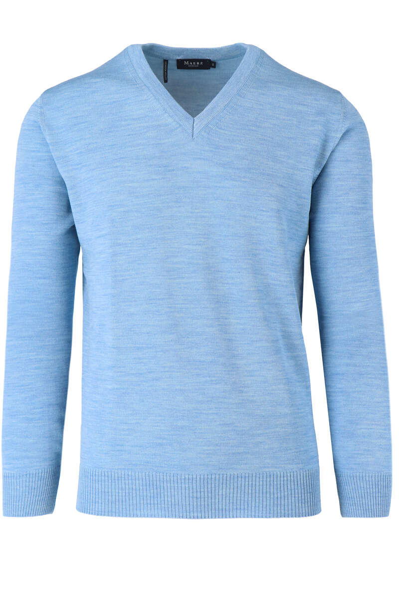 Maerz Classic Fit Pullover V-Ausschnitt hellblau, einfarbig 50