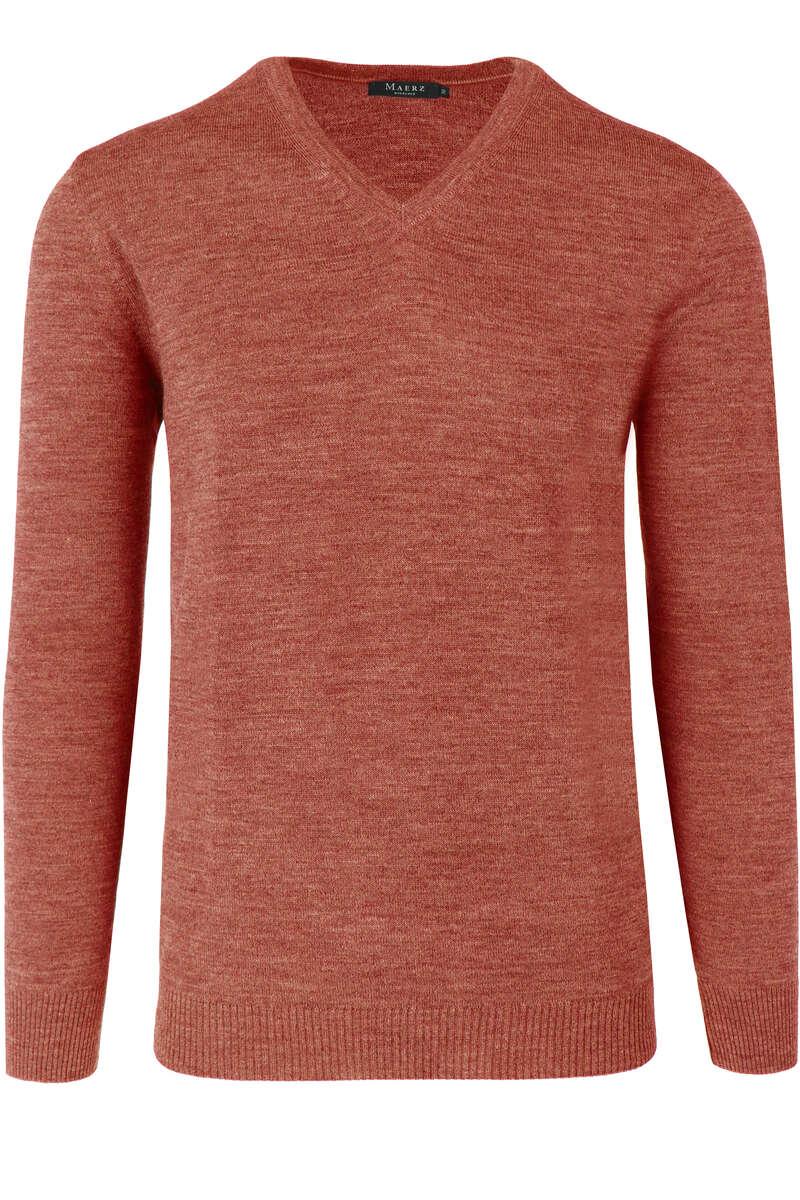 Maerz Modern Fit Pullover V-Ausschnitt kupfer, einfarbig 50