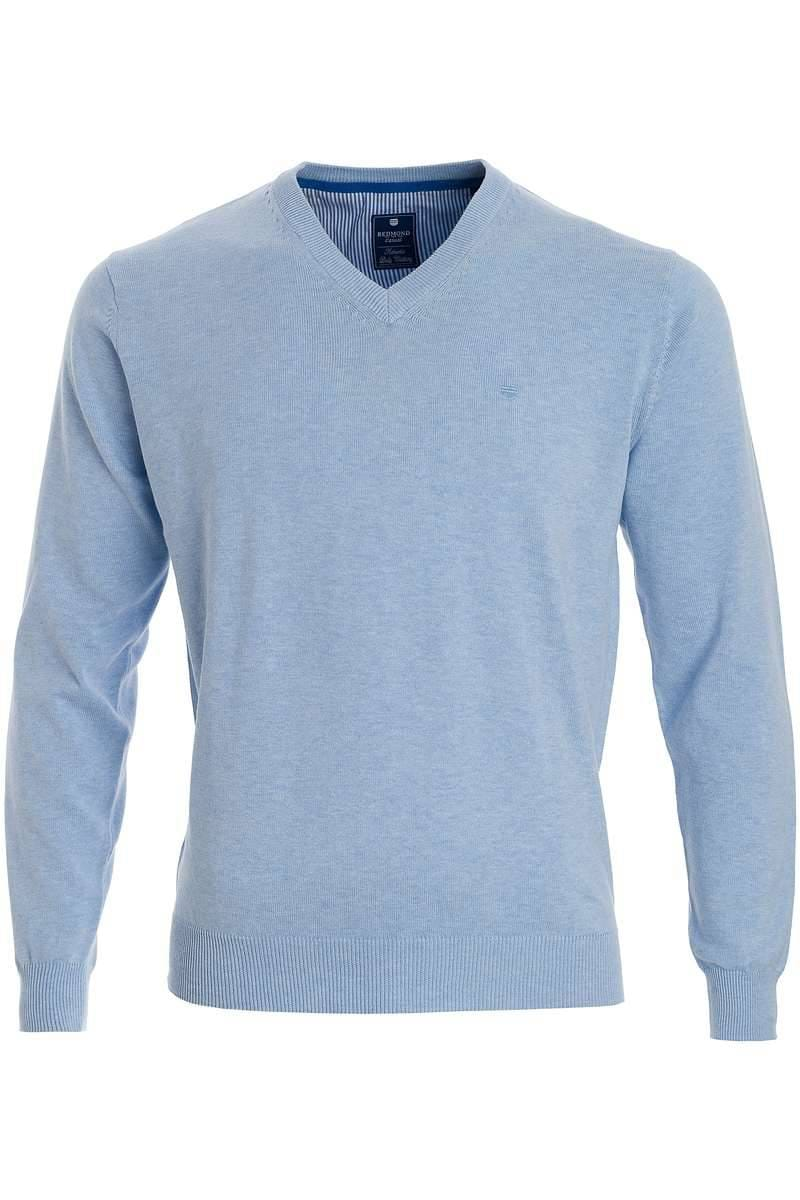 Redmond Strickpullover V-Ausschnitt hellblau, einfarbig