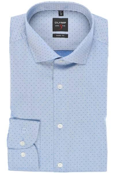 OLYMP Level Five Body Fit Hemd blau, Gemustert