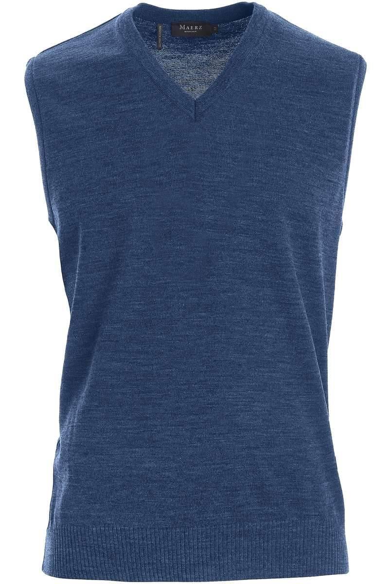 MAERZ Pullunder Classic Fit blau, einfarbig