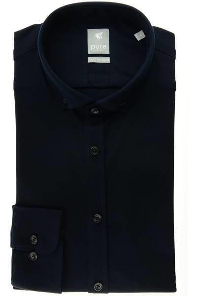 Pure Hemd - Extra Slim - marine, Einfarbig