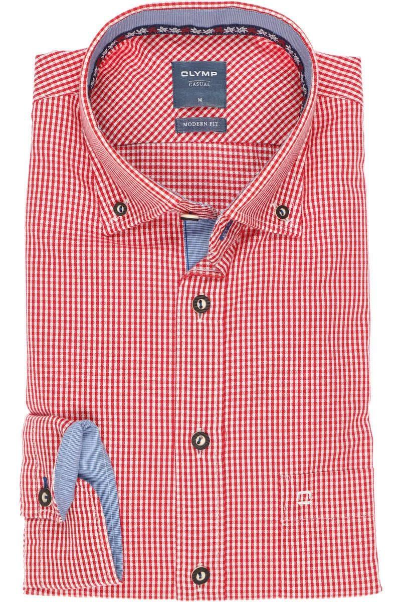 OLYMP Casual Modern Fit Trachtenhemd rot/weiss, Kariert