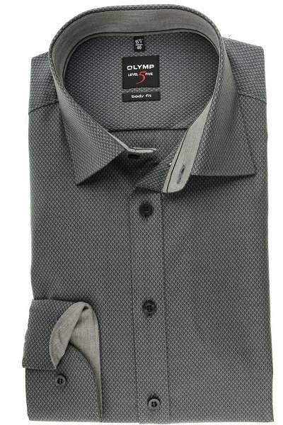 huge selection of good best cheap OLYMP Level Five Body Fit Hemd schwarz, Gemustert
