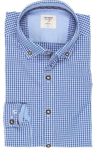 OLYMP Level Five Casual Body Fit Trachtenhemd blau/weiss, Kariert