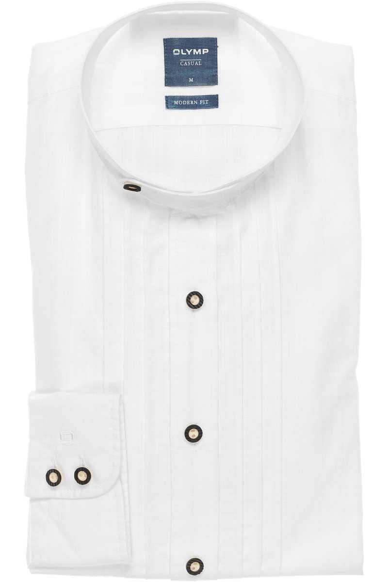 OLYMP Casual Modern Fit Trachtenhemd weiss, Einfarbig