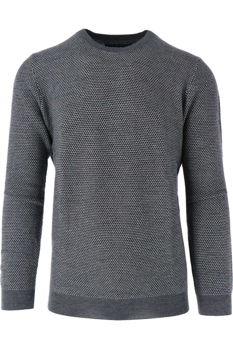 Marvelis Casual Modern Fit Strickpullover Rundhals graublau, gemustert M