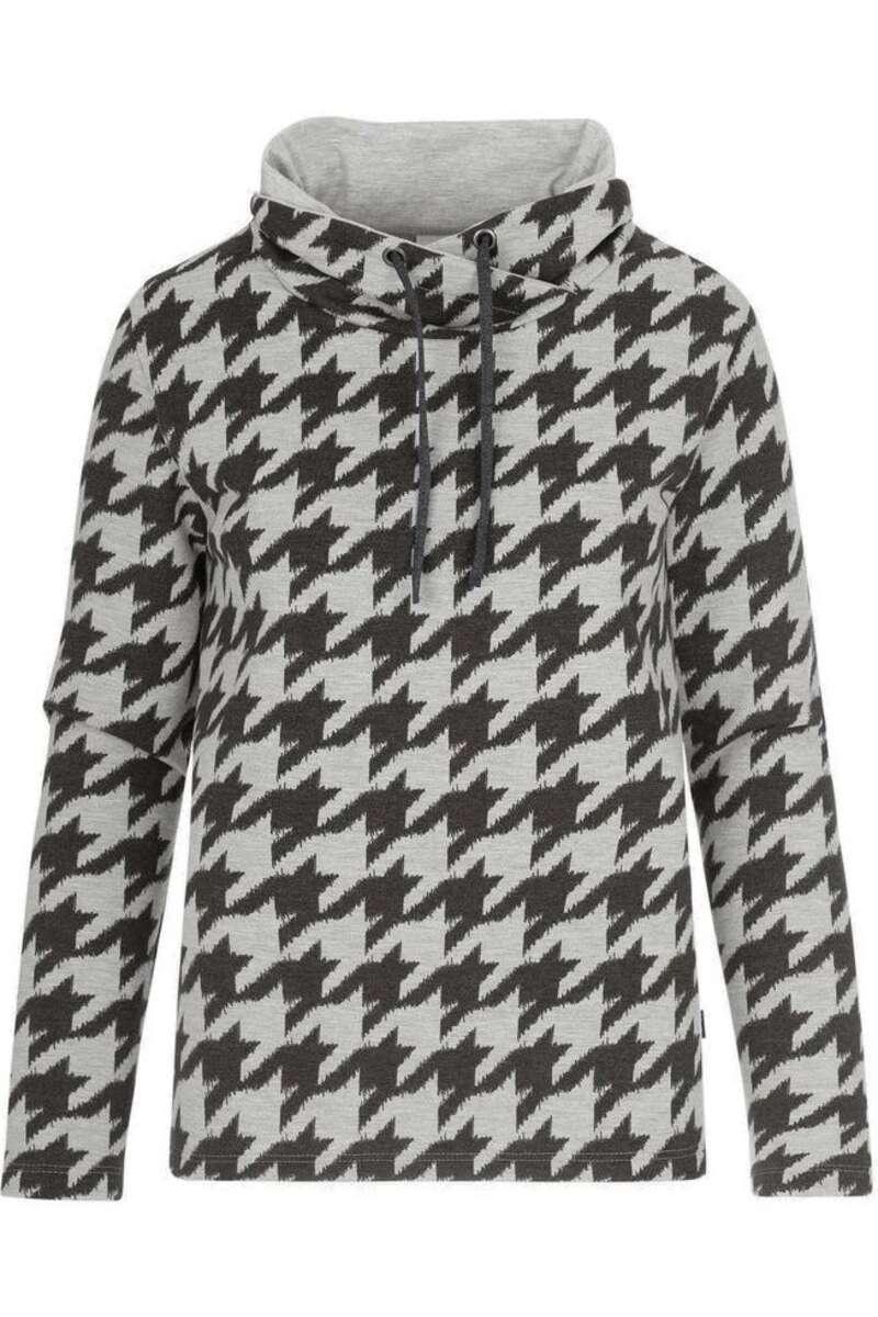 TRIGEMA Comfort Fit Kapuzen Sweatshirt grau/schwarz, gemustert M