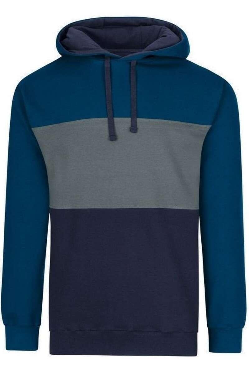 TRIGEMA Comfort Fit Kapuzen Sweatshirt blau/grau, gestreift M