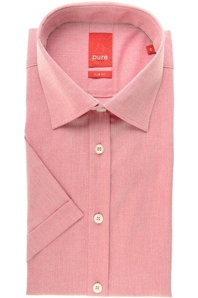 Pure Hemd - Slim Fit - rot, Einfarbig