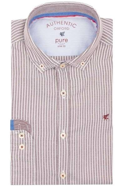 Pure Slim Fit Hemd bordeaux, Gestreift