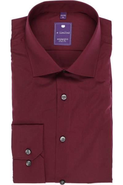 Redmond Slim Fit Hemd weinrot, Einfarbig