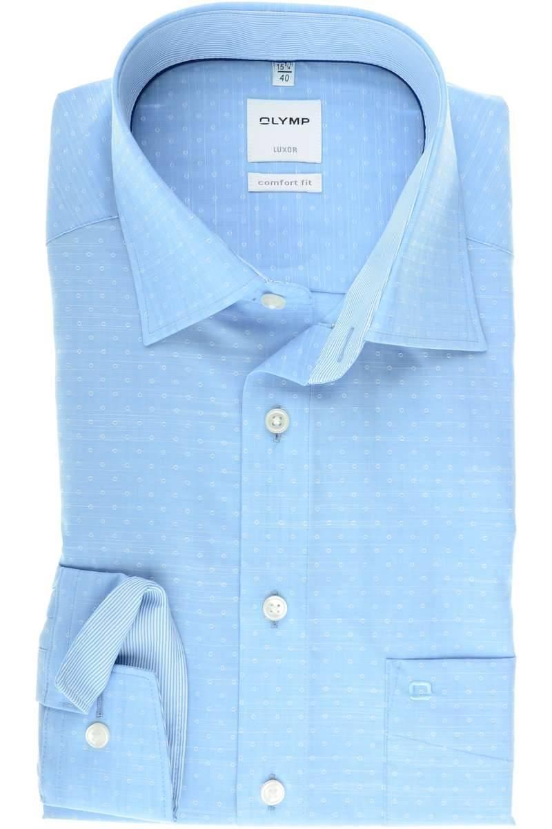 Hochwertiges OLYMP Luxor Comfort Fit Hemd in der Farbe bleu, Gemustert. Der  Ärmeltyp ist Langarm (64cm), das Hemd ist bügelfrei und hat eine  Brusttasche. 155d7d681b