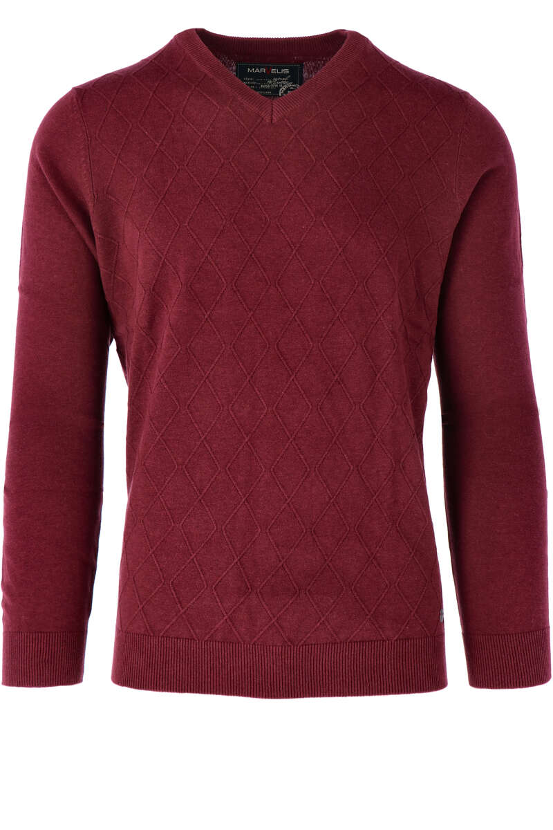 Marvelis Casual Modern Fit Pullover V-Ausschnitt weinrot, einfarbig M