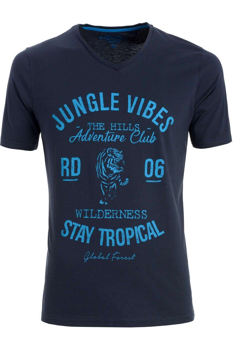 Redmond T-Shirt V-Ausschnitt blau, gemustert S