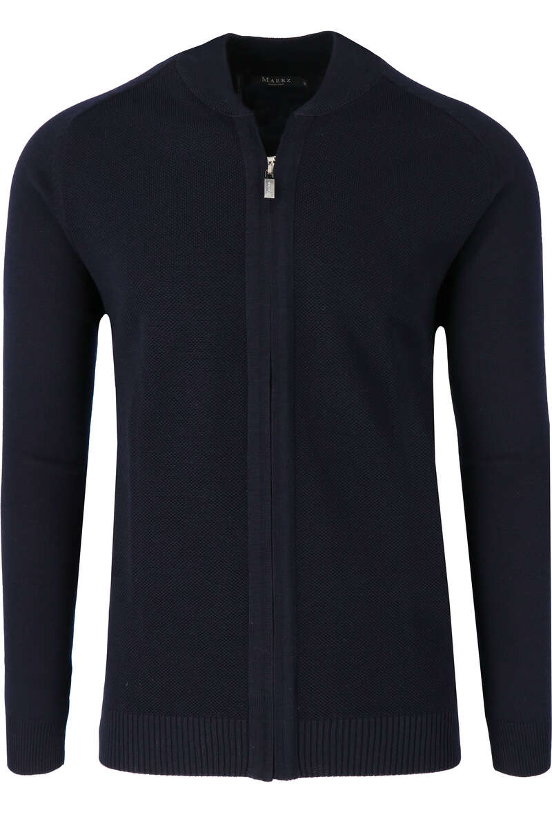 MAERZ Classic Fit Strickjacke Zip navy, einfarbig 50