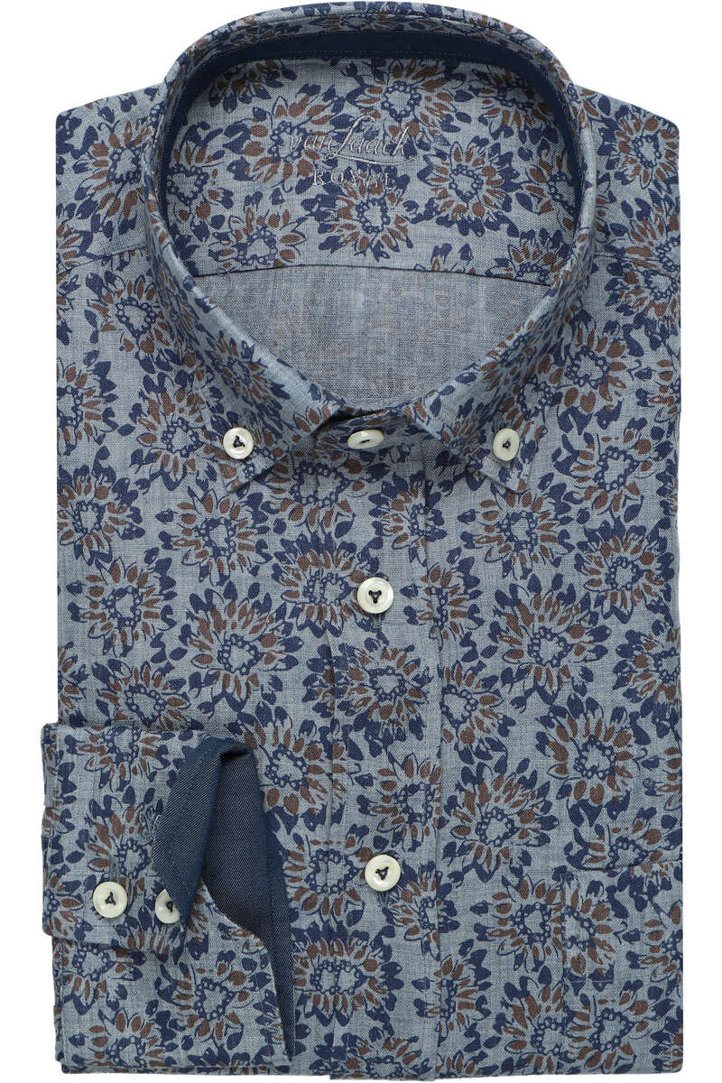 Van Laack Tailor Fit Leinenhemd blau/braun, Gemustert 39 - M