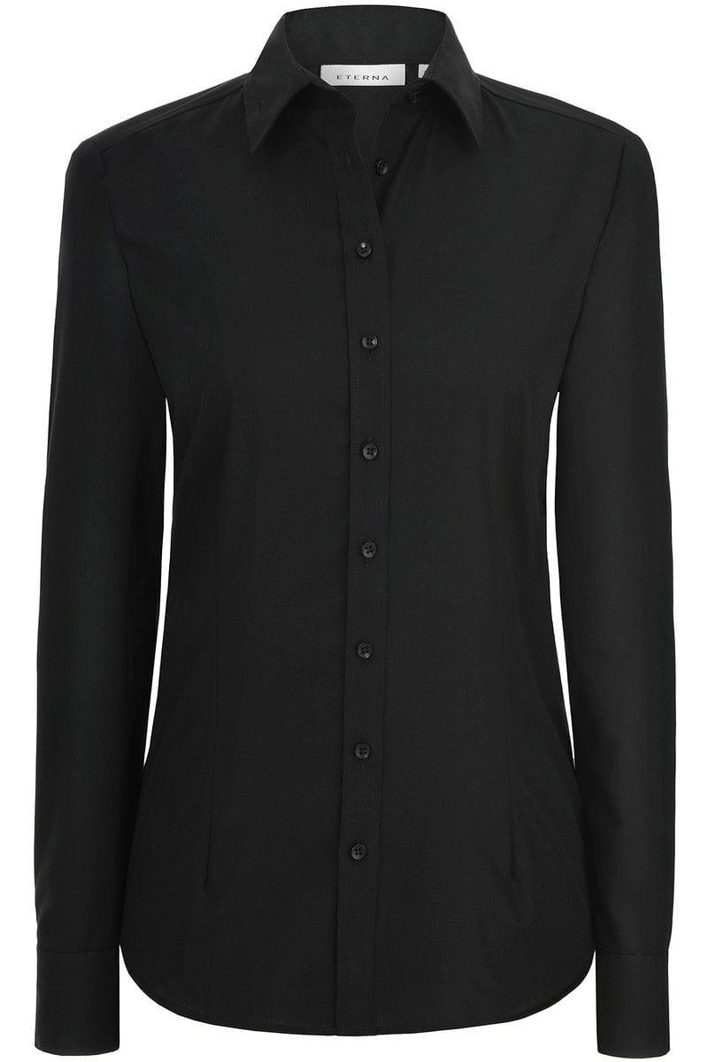 eterna bluse comfort fit in langarm 63cm schwarz einfarbig. Black Bedroom Furniture Sets. Home Design Ideas