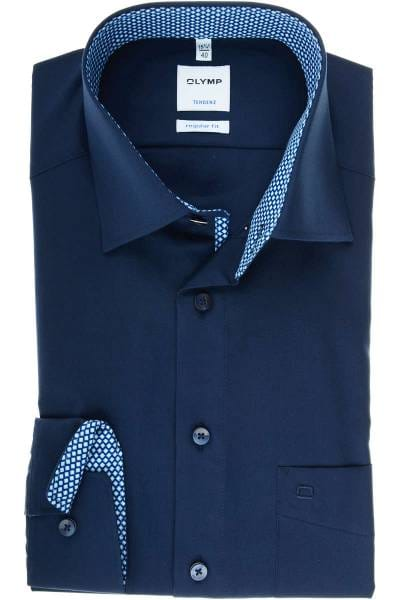 Olymp Tendenz Regular Fit Hemd dunkelblau, Einfarbig