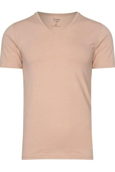 OLYMP Level Five Body Fit V-Ausschnitt T-Shirt hautfarben