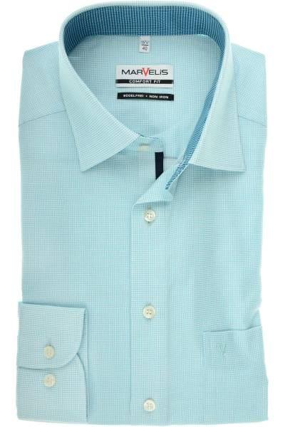 Marvelis Comfort Fit Hemd mint/weiss, Kariert