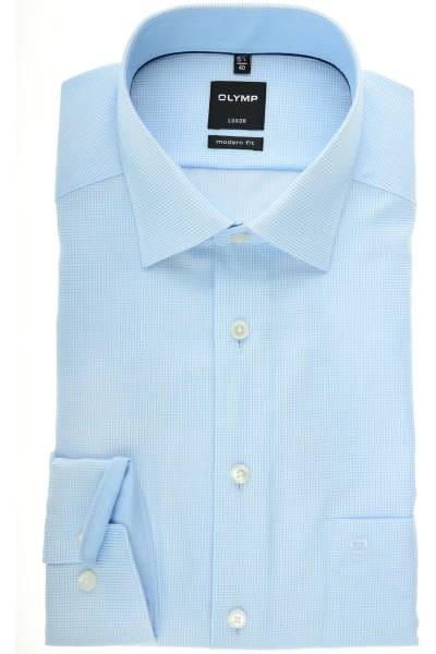 OLYMP Luxor Modern Fit Hemd bleu/weiss, Gitterkaro
