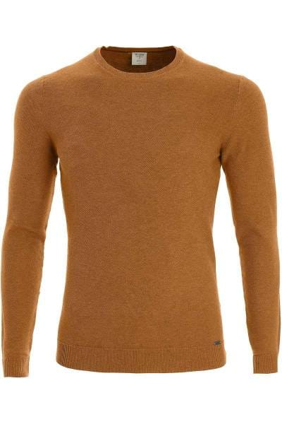 OLYMP Level Five Body Fit Strickpullover Rundhals caramel, einfarbig