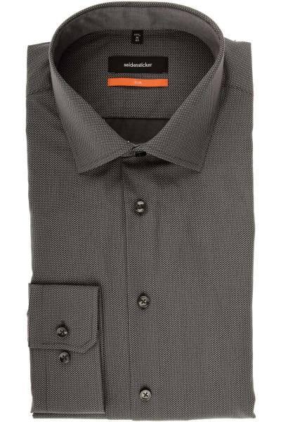Seidensticker Slim Fit Hemd grau/weiss, Gepunktet