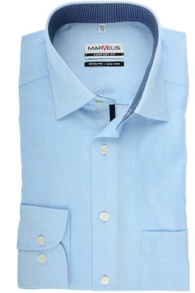 Marvelis Comfort Fit Hemd bleu/weiss, Kariert