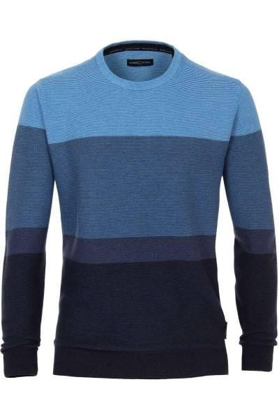 Casa Moda Strickpullover Rundhals blau, gestreift