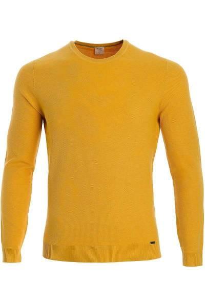 OLYMP Level Five Body Fit Strickpullover Rundhals mais, einfarbig