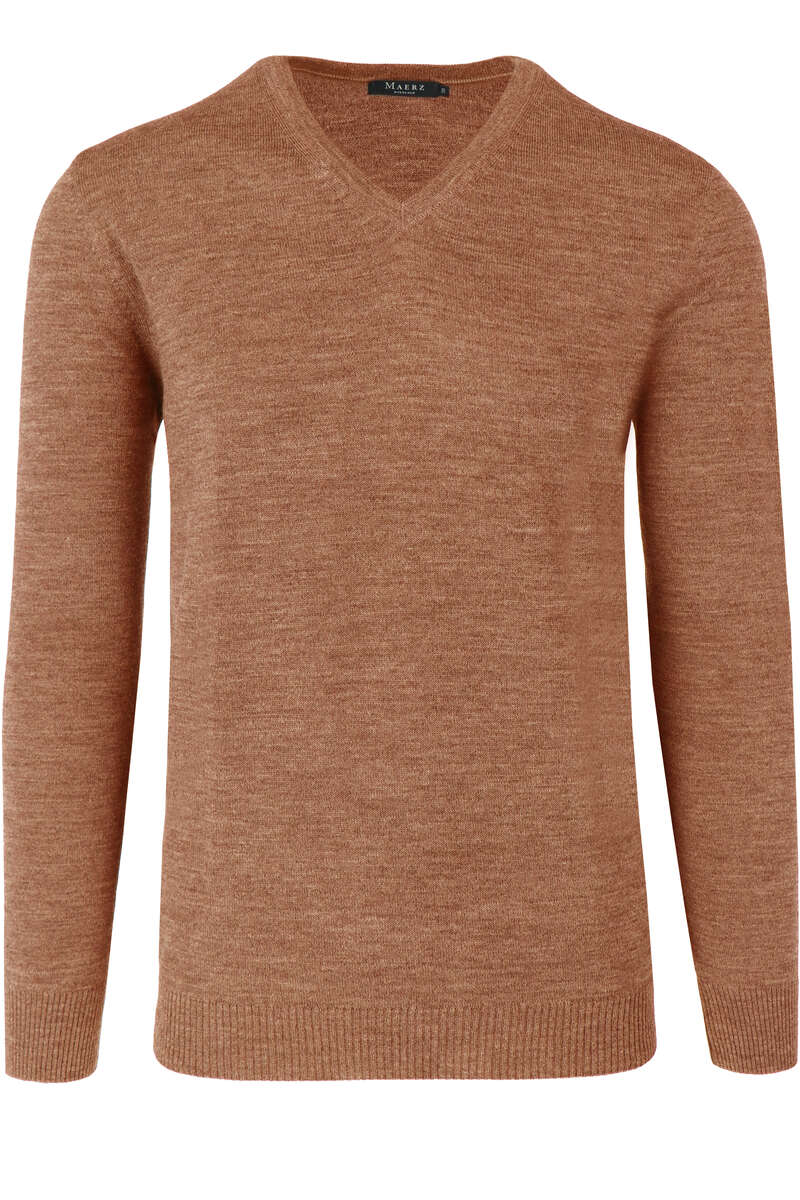 Maerz Modern Fit Pullover V-Ausschnitt hellbraun, einfarbig 50