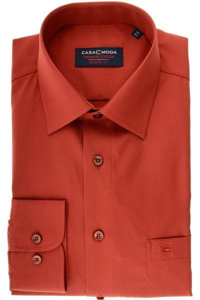 Casa Moda Hemd - Comfort Fit - orange, Einfarbig