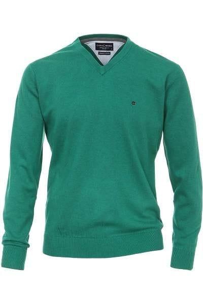 Casa Moda Strickpullover V-Ausschnitt Pullover - grün