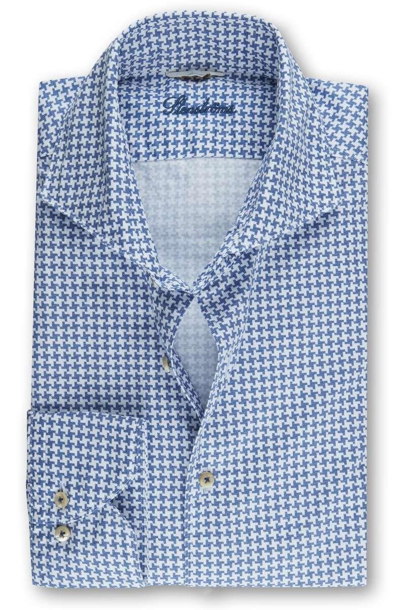Stenströms Slimline Hemd blau/weiss, Hahnentritt L