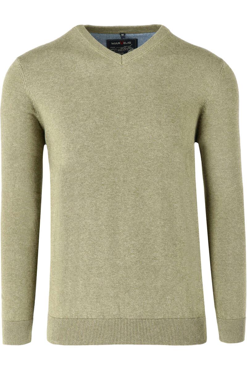 Marvelis Casual Modern Fit Pullover V-Ausschnitt oliv, einfarbig M