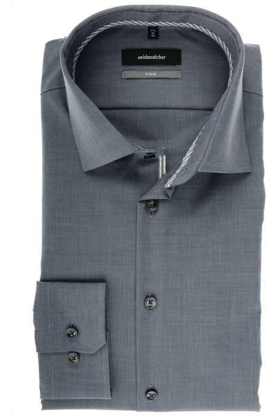 Seidensticker X-Slim Hemd grau, Strukturiert