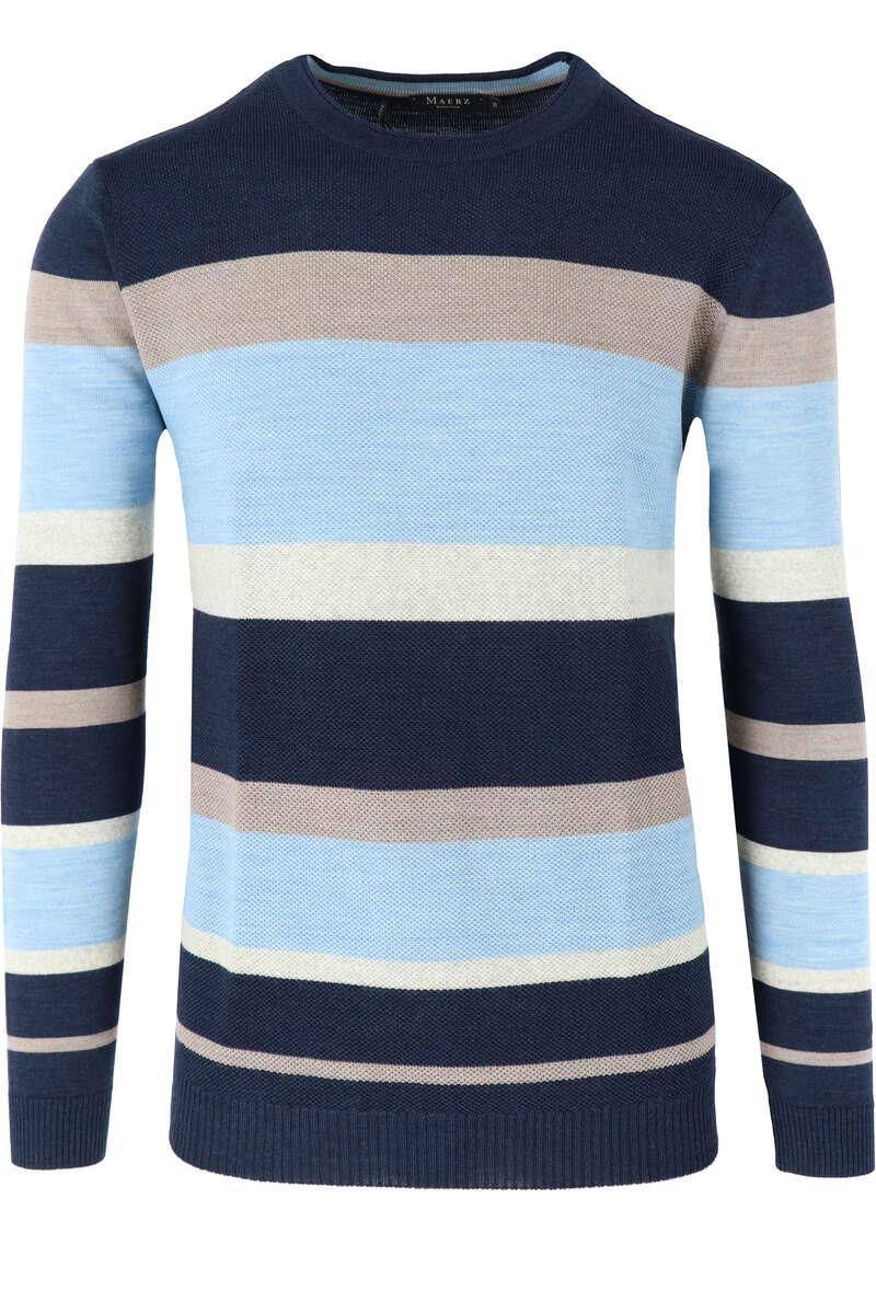 Maerz Regular Fit Pullover Rundhals blau/braun, gestreift 50