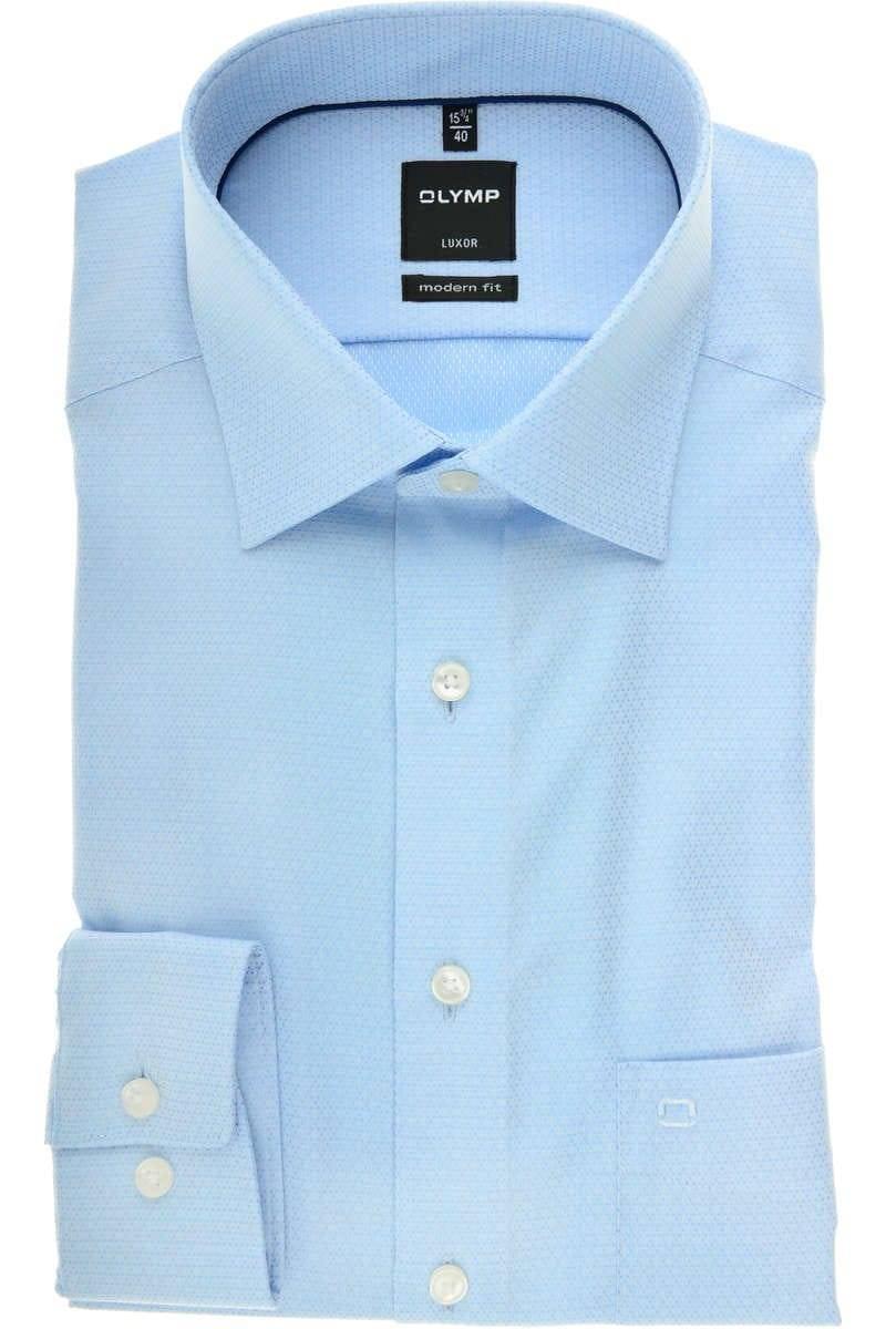 OLYMP Luxor Modern Fit Hemd bleu, Faux-uni