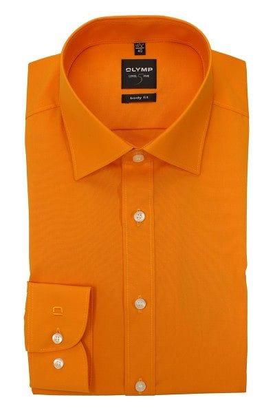 Olymp Hemd - Body Fit - orange, Einfarbig
