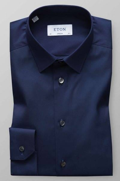 Eton Super Slim Hemd dunkelblau, Einfarbig